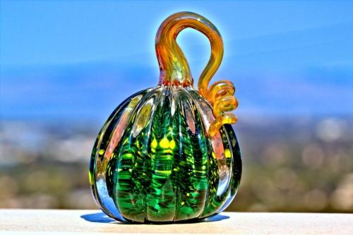 Green Glass Pumpkin