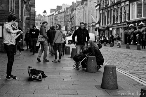 Young street performer in Edinburgh