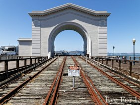Train Tracks Ending in San Francisco Bay