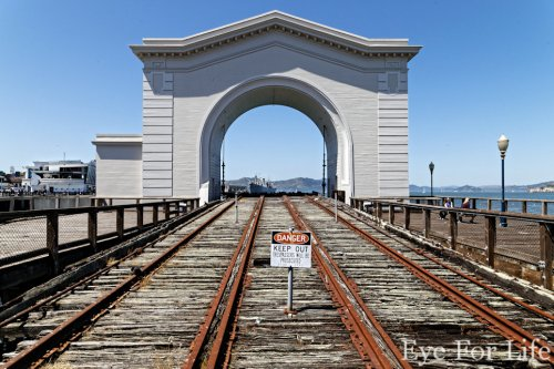 Train Tracks Ending in San Francisco Bay